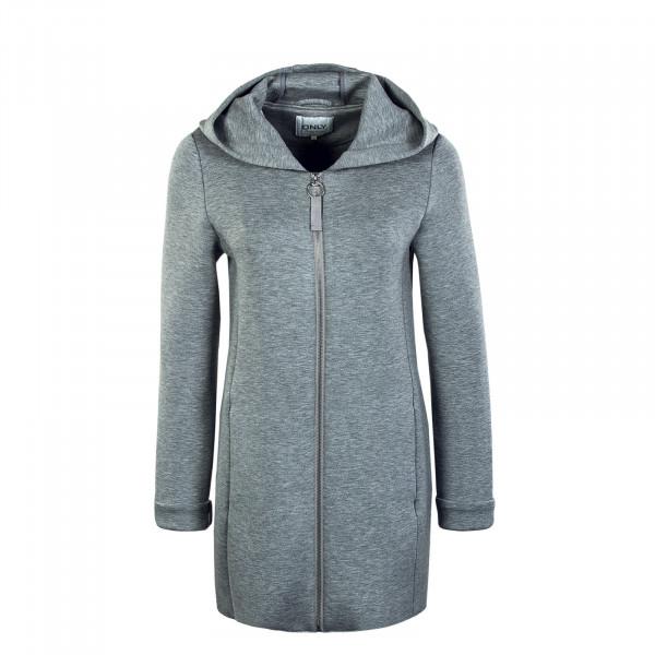 Damen Mantel - Lena Bonded Hood Coat - Light Grey Melange