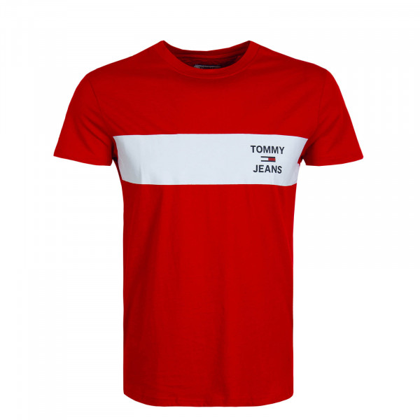 Herren T-Shirt 7858 Chest Stripe Red White