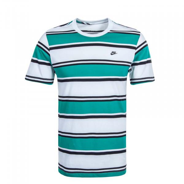 Herren T-Shirt NSW Stripe White Nep Green