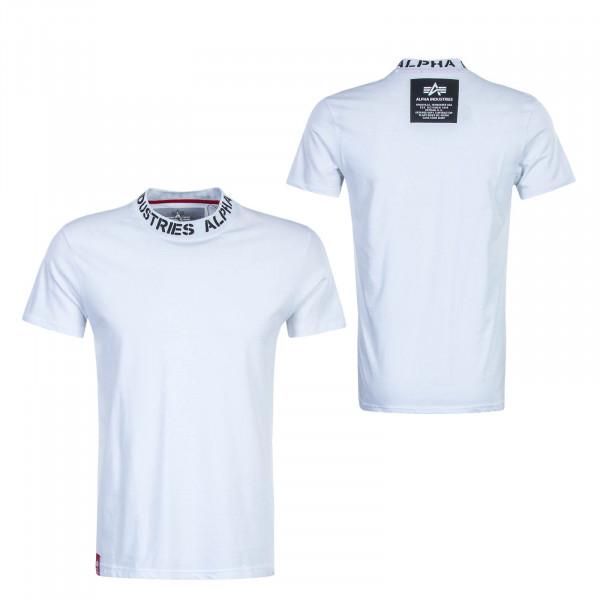 Herren T-Shirt Neck Print White