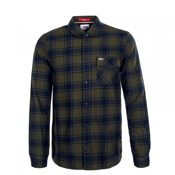 Herren Hemd - Flannel Plaid - Dark Olive / Check