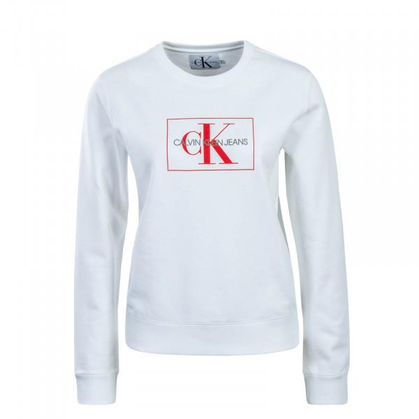 CK Wmn Sweat Monogram Outline White