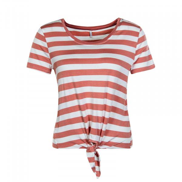 Damen T-Shirt  Arli Knot Stripe Terra Cott Beige