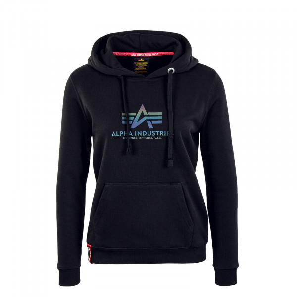 Damen Hoody - New Basic Rainbow Reflective Print - Black