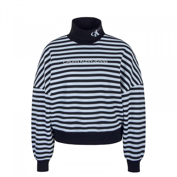 Damen Pullover Stripe Roll Neck 4800 Black White