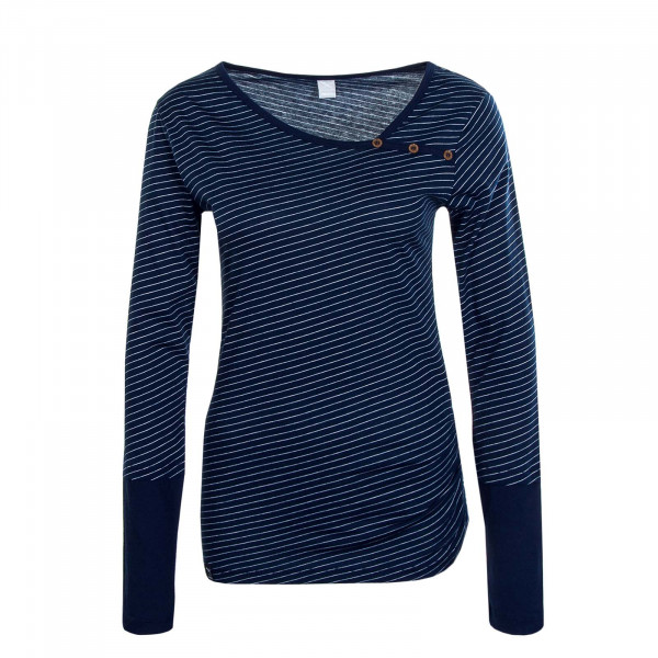 Damen Longsleeve  Asym Stripe Button Navy White