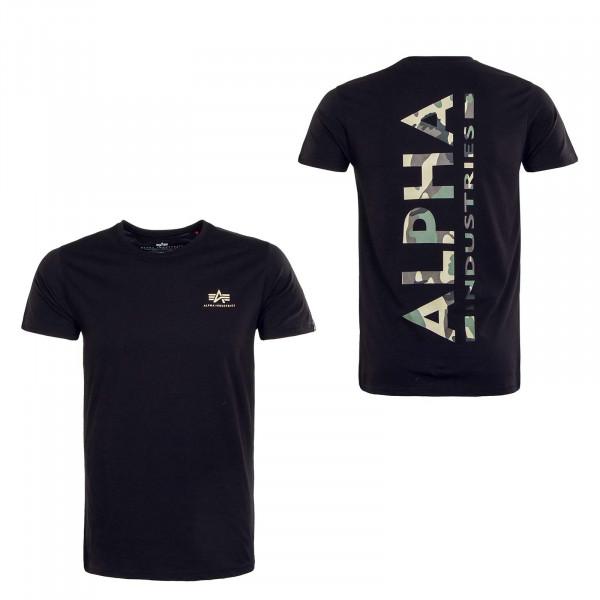 Herren T-Shirt - Backprint Camouflage Print - Black