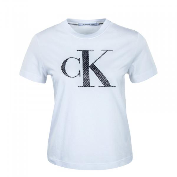 Damen T-Shirt - Satin Bonded Filled CK White AOP - White