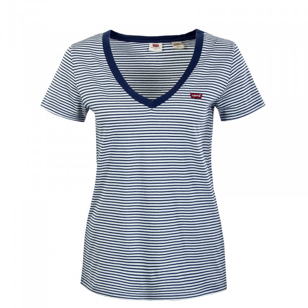 Damen T-Shirt - V-Neck Annalise - Stripe Blue