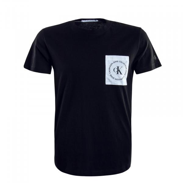 Herren T-Shirt Round Logo Pocket Black