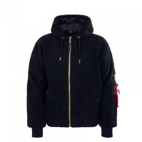 Damen Jacke - MA-1 OS Hooded Teddy - Black