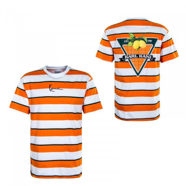 Herren T-Shirt - Small Signature Stripe - Orange / White