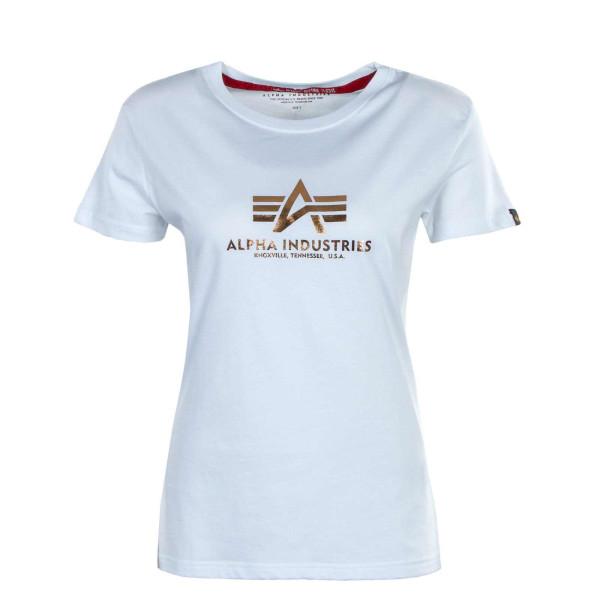 Damen T-Shirt - New Basic Foil Print - White / Copper