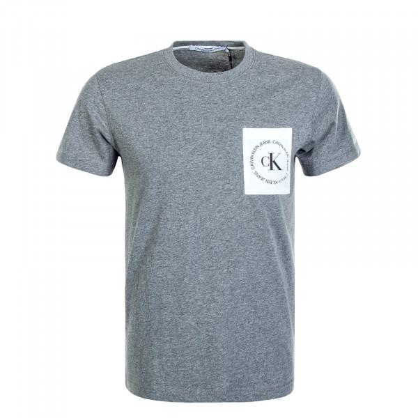 Herren T-Shirt Round Logo Pocket Grey