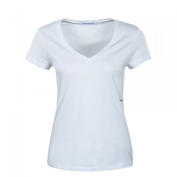 Damen T-Shirt - Micro Branding Off Placed V-Neck - White