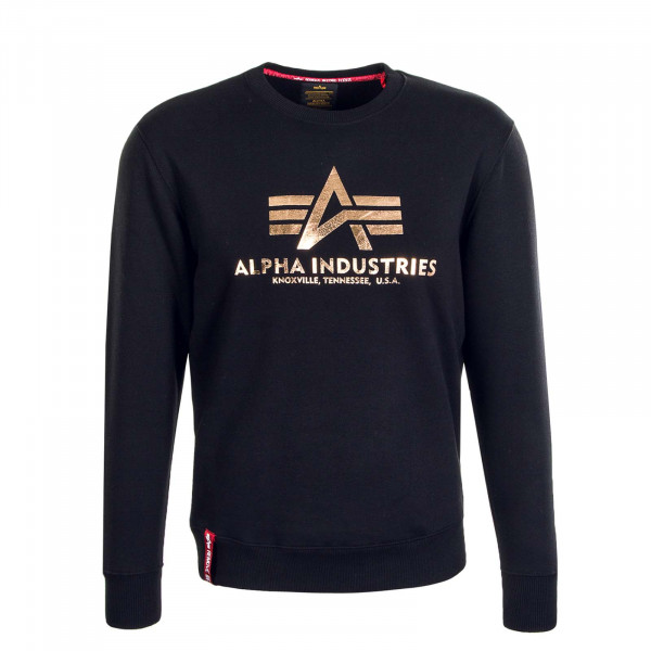 Herren Sweatshirt Basic Foil Print Black Gold