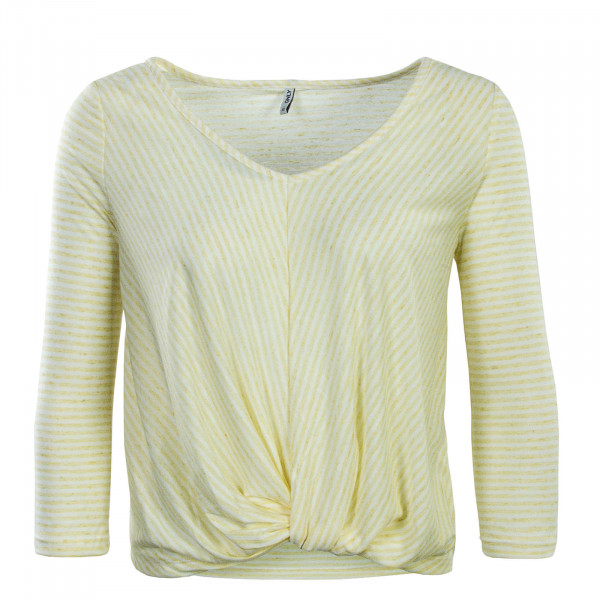 Damen Longsleeve 3/4 Winnie Wrap Stripe Yellow White