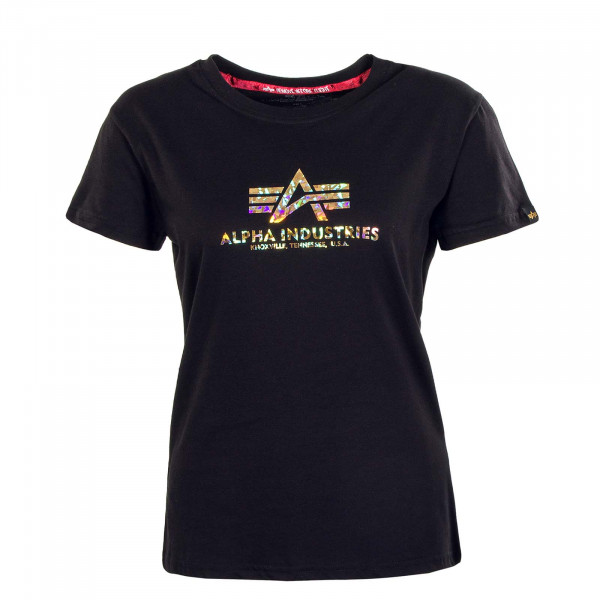 Damen T-Shirt - New Basic Holografic Print - Black / Gold / Crystal