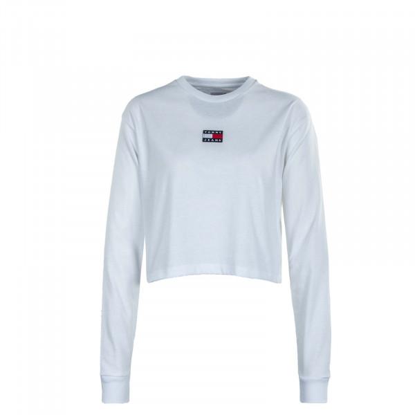 Damen Longsleeve - TJW Crop Tommy Badge Center - White