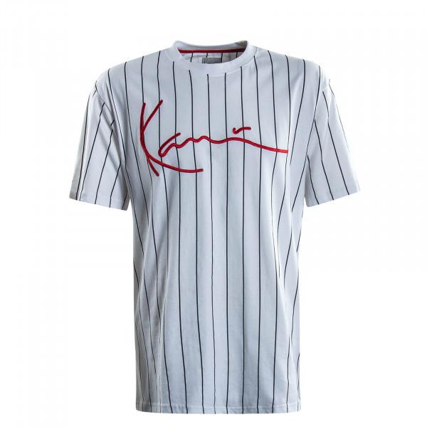 Herren T-Shirt  Signature Pinstripe White Black