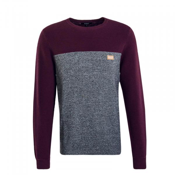 Herren Knit Auf Deck Stripe Bordeaux Grey