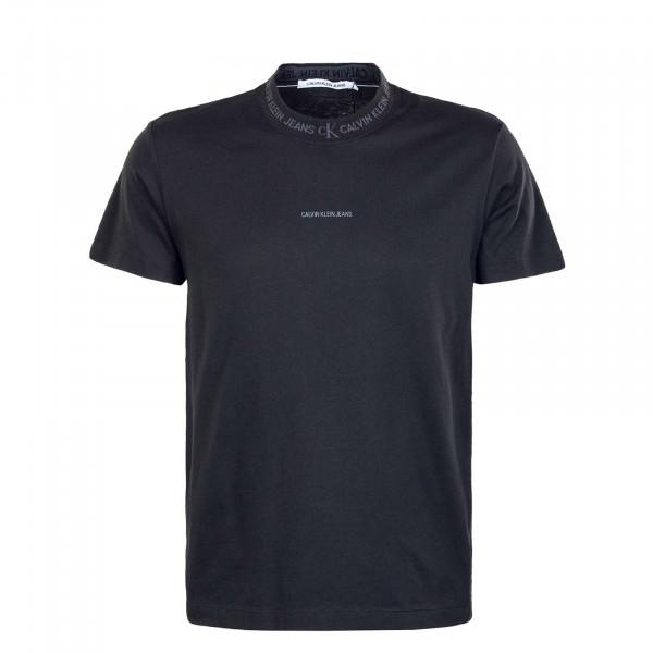 Herren T-Shirt - Logo Jacquard - Black