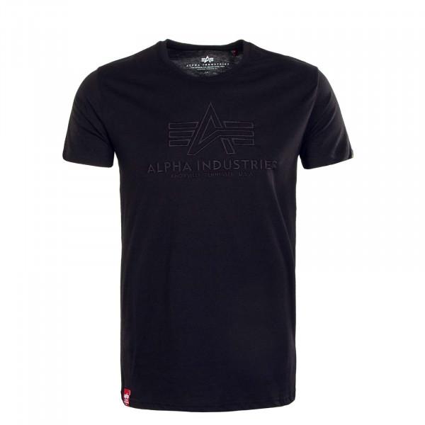 Herren T-Shirt - Basic Embroidery - Black / Black