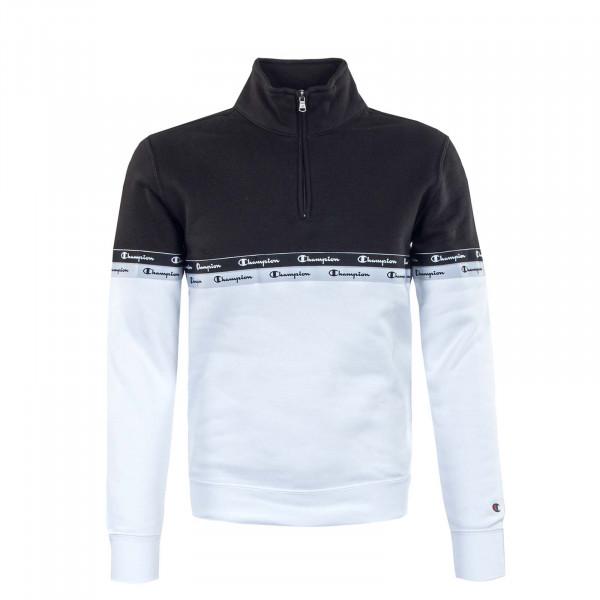 Herren Sweatshirt - Half Zip - White / Black