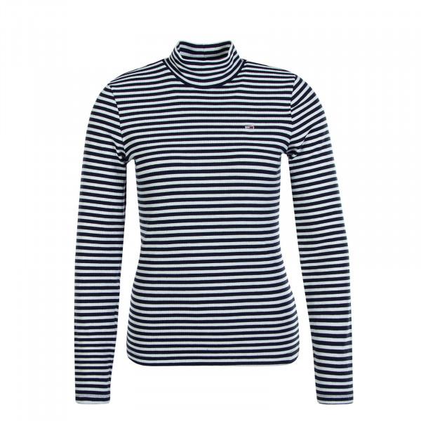 Damen Longsleeve Mock Stripe Navy White
