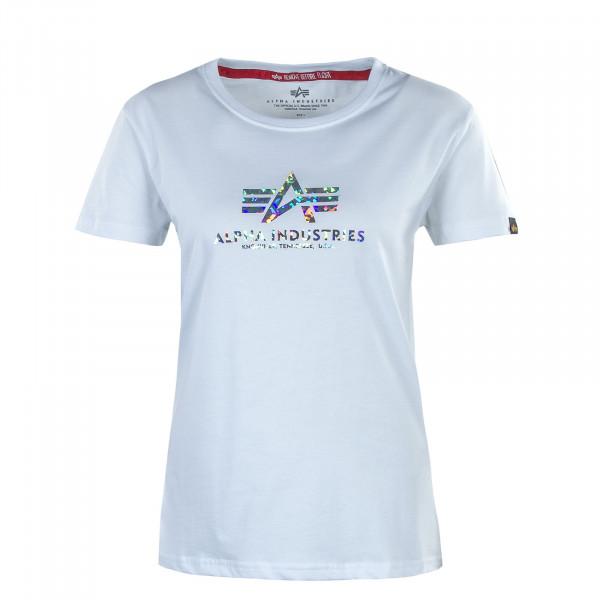 Damen T-Shirt - New Basic Holografic Print - White / Silver