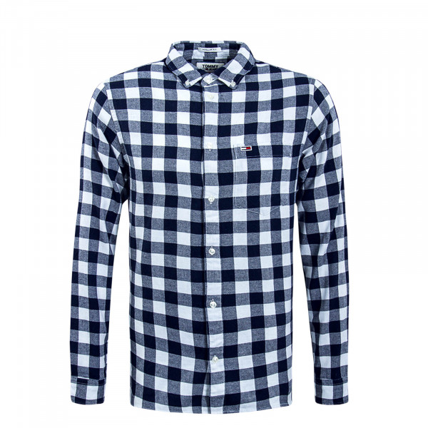 Herren Hemd Sustainable Karo White Navy