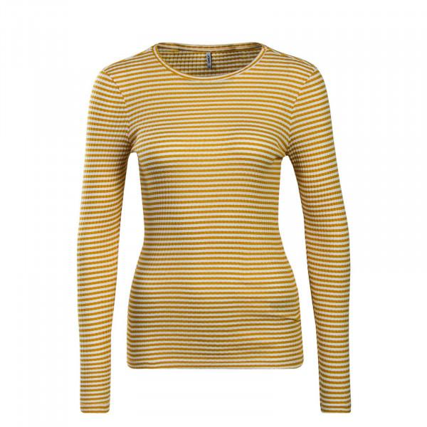 Damen Longsleeve Tina Stripe Yellow White