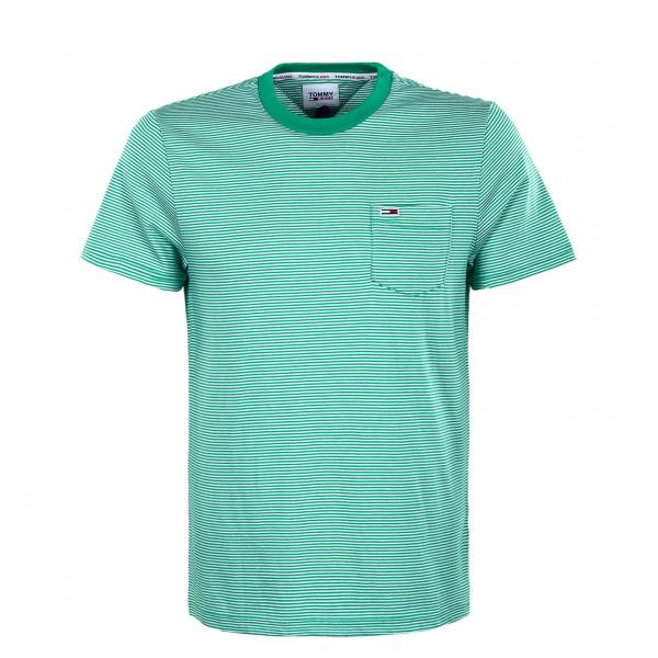 Herren T-Shirt - Reg Stripe Pocket Grassy - Green / White