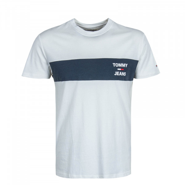 Herren T-Shirt 7858 Chest Stripe White Navy