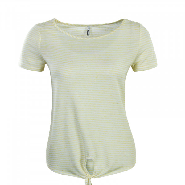 Damen T-Shirt Winnie Knot Stripe Yellow White