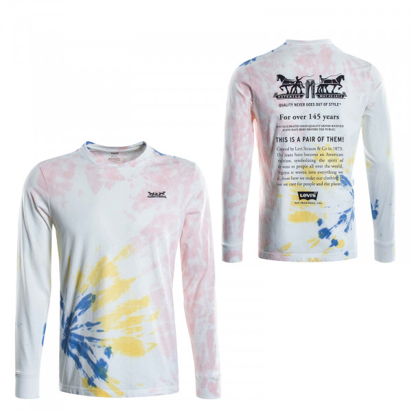 Herren Longsleeve Relaxed Graphic White Multi