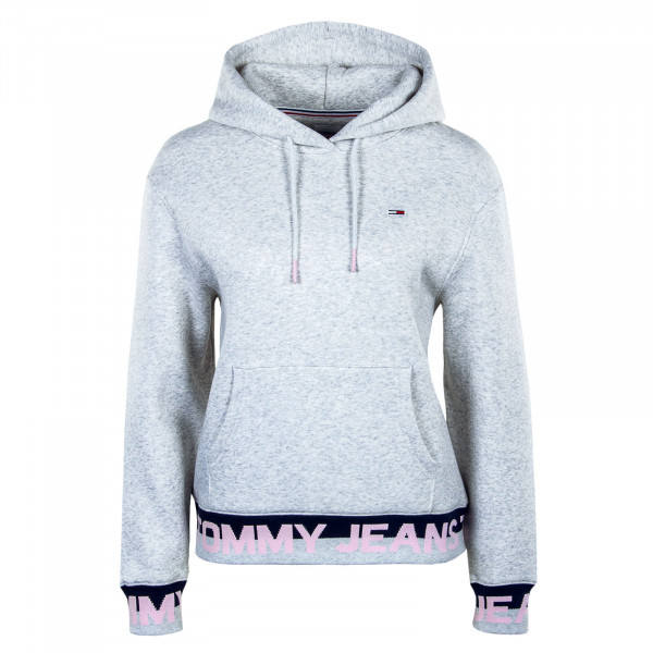 Damen Hoody Branded Hem Silver Grey