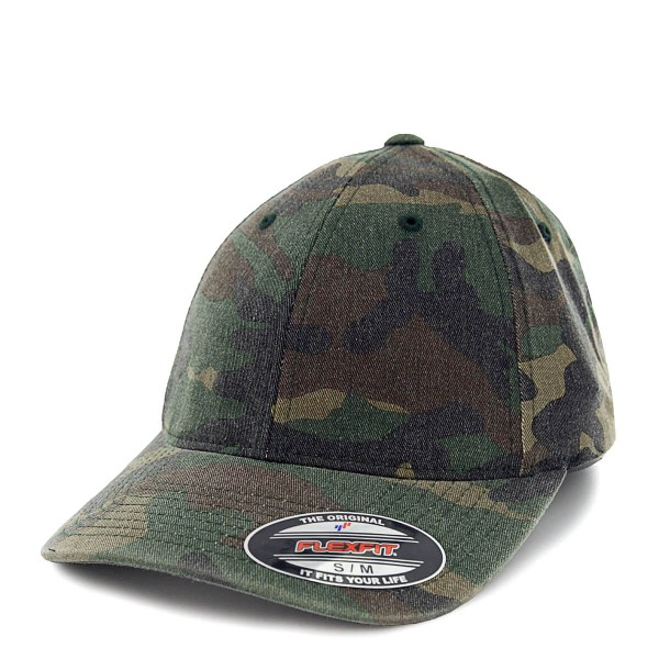 Flexfit Cap Garment Washed Green Camo