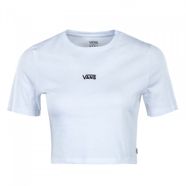 Damen T-Shirt - Flying V Crop Crew - White