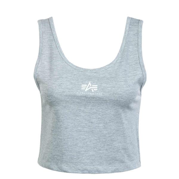 Damen Top - Basic Crop SL - Grey / Heather / White