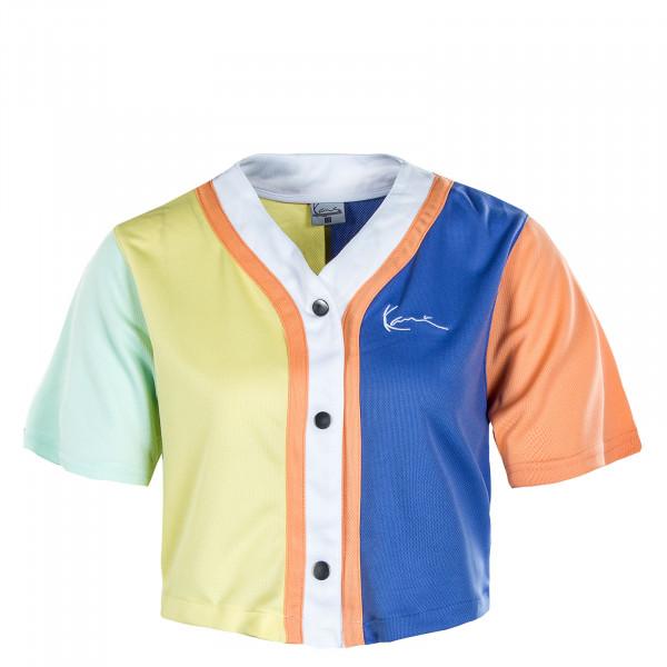 Damen Hemd - Chest Signature Block Short Baseball Shirt - Blue