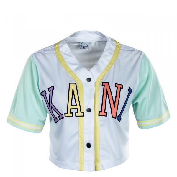 Damen Hemd - College Block Short Baseball Shirt - White