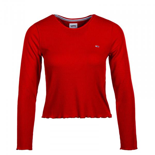 Damen Longsleeve TJW Rib Crop Longsle Deep Crimson