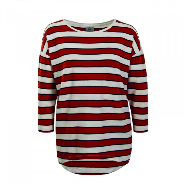 Damen Longsleeve Hailey Stripe Beige Red