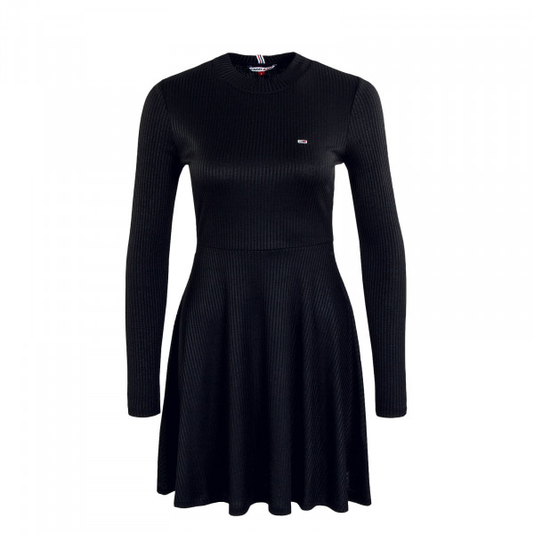 Damen Kleid Fitflare Long Dress Black