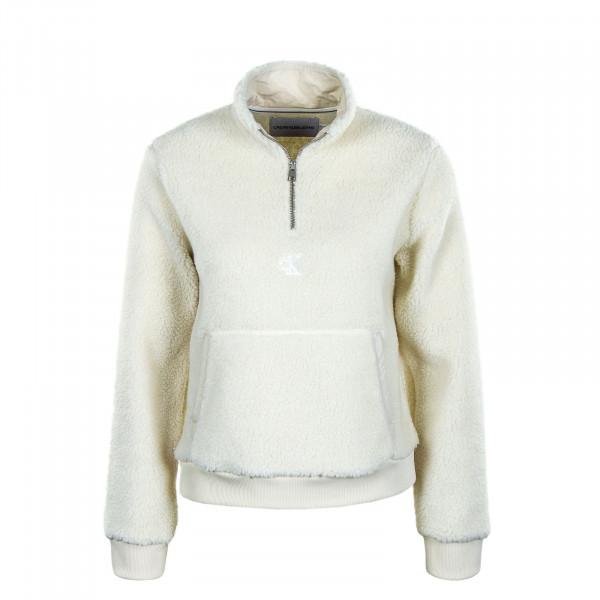 Damen Pullover - Sherpa Mock Neck Zip - Soft Cream