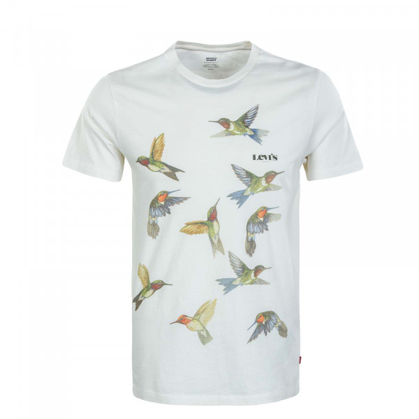 Herren T-Shirt - Graphic Crewneck Bi Bird Photo - Beige