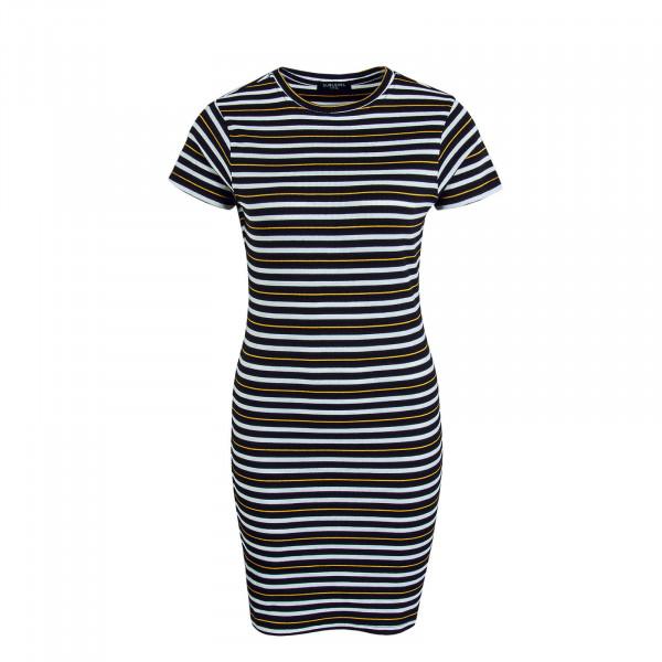 Kleid 30162 Stripe Black White Yellow