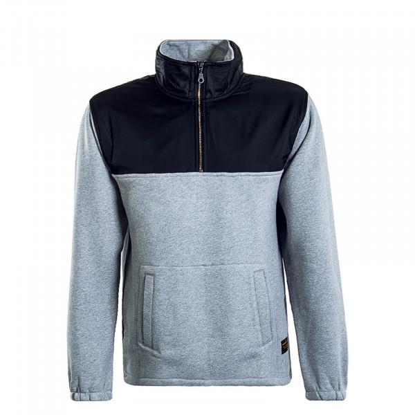 Herren Sweatshirt Quarter Zip Grey Black