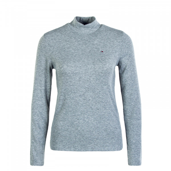 Damen Longsleeve - Rib Mock Neck - Silver Grey Heather